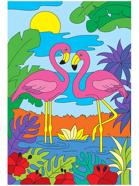 "Набор для детского творчества ""Холст с красками. Два ярких фламинго"" 20х30 см"