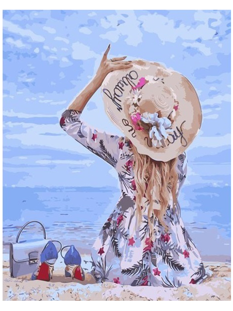 "Картина по номерам Colibri ""Девушка на пляже"" 40*50см"
