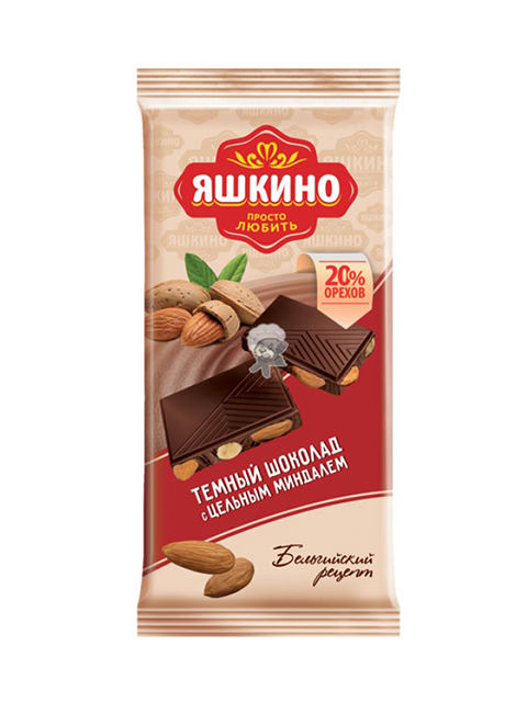 Шоколад Яшкино 90 г, темный с цельным миндалем