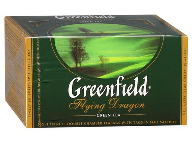 Чай Greenfield зеленый в пакетиках с ярлыками 2 гр 50 штук Flying Dragon