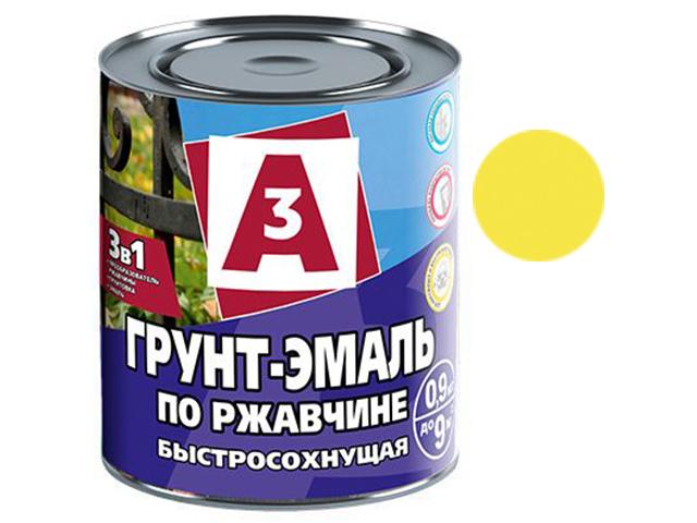 """Грунт-эмаль по ржавчине 3в1 """"А3"""" 0,9кг, желтая"""
