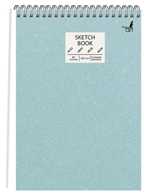 """Скетчбук А5 60 листов PaperArt """"Мятная текстура"""" твердая обложка, на евроспирали"""