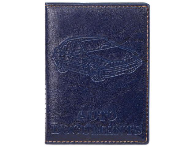 Обложка для автодокументов, 10,5х13,5, прошитый, темно-синий