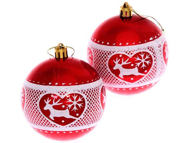 """Набор елочных шаров Серпантин """"Любимый олень"""", 8 см, 2 шт, красный с узором, пластик"""