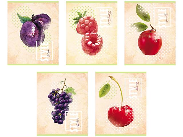 """Тетрадь А5 48 листов в клетку Хатбер """"Fruit Style"""" на скрепке"""