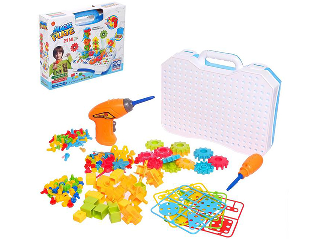 """Конструктор-мозаика """"Создавай и играй"""" с дрелью, 190 деталей, в чемоданчике"""