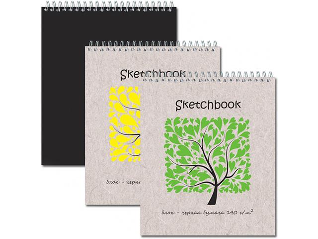 """Блокнот А5 20 листов Полином """"Sketchbook Black"""" 140-170 г/м2, бумага черная, на гребне"""
