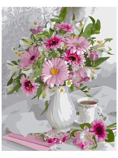 """Картина по номерам Colibri """"Цветы и чай"""" 40*50см"""