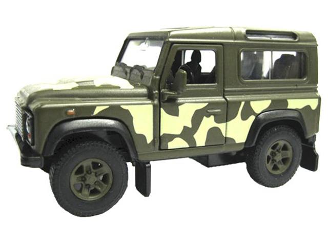 """Машинка-модель """"Land Rover Defender""""военная металл, в коробке"""
