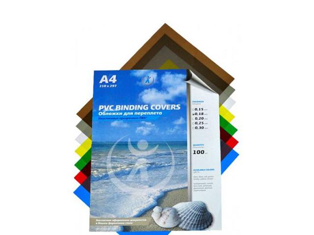 Обложечный лист А4 ПВХ прозрачный 0,20 мм, бесцветный, 100 листов