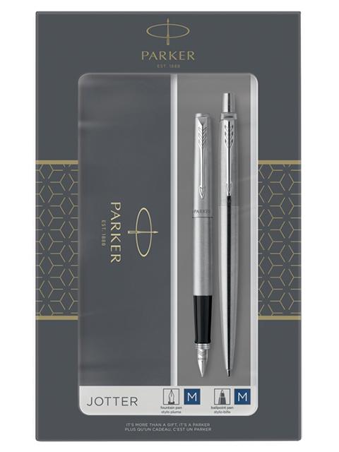 """Набор PARKER """"Jotter Stainless Steel CT"""": ручка шариковая 1,0 мм и ручка перьевая 1,0 мм, в подар. упак."""