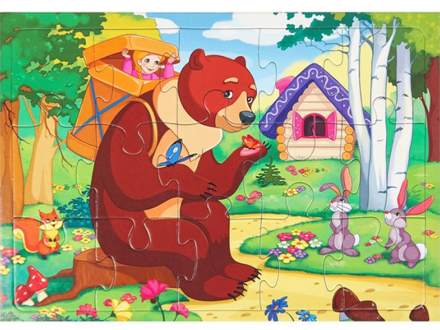 "Пазл-рамка 15 элементов 180х255 Рыжий кот ""Маша и медведь"""