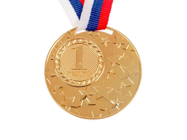 """Медаль призовая """"1 место"""" 058 5,0 см, металлическая, на ленте, золото"""