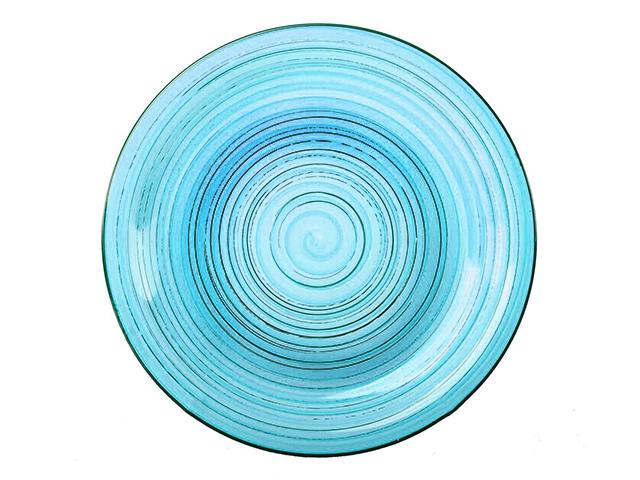 """Тарелка обеденная 26 см """"BLUE Винтаж"""" голубая, керамика"""