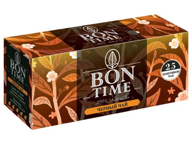 Чай BON TIME черный в пакетиках 25 штук*2г