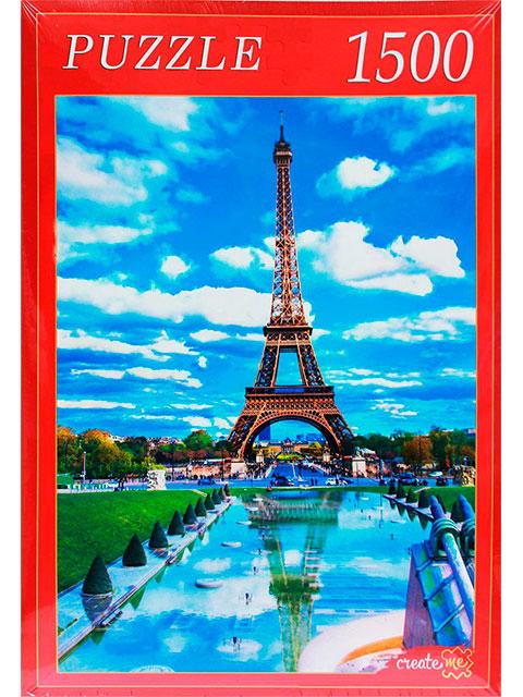 """Пазлы 1500 элементов 580х850 Рыжий кот """"Париж. Эйфелева башня и отражение"""""""