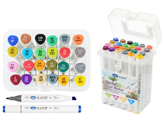 """Набор маркеров для скетчинга """"Basir"""" 24 цвета, двусторонние, трехгранный корпус, в пластиковом контейнере"""