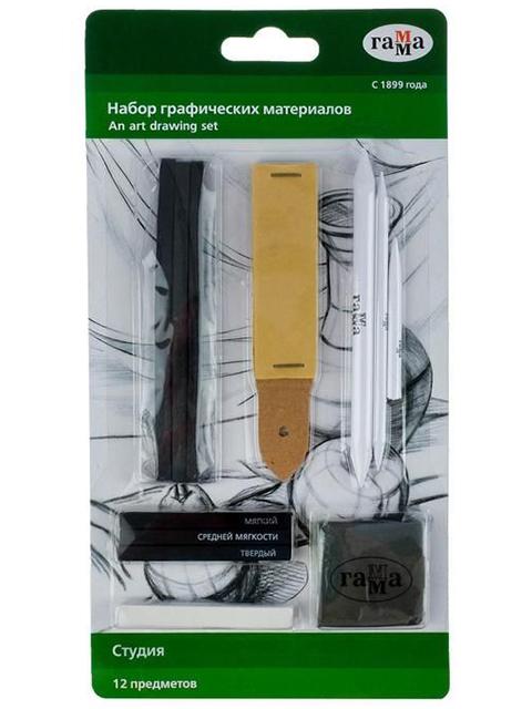 """Набор графических материалов Гамма """"Студия"""" 12 предметов, блистер"""