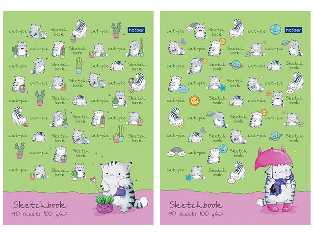 """Блокнот А5 40 листов Хатбер """"Sketchbook. Приключения кота"""" 100г/м2, на склейке"""
