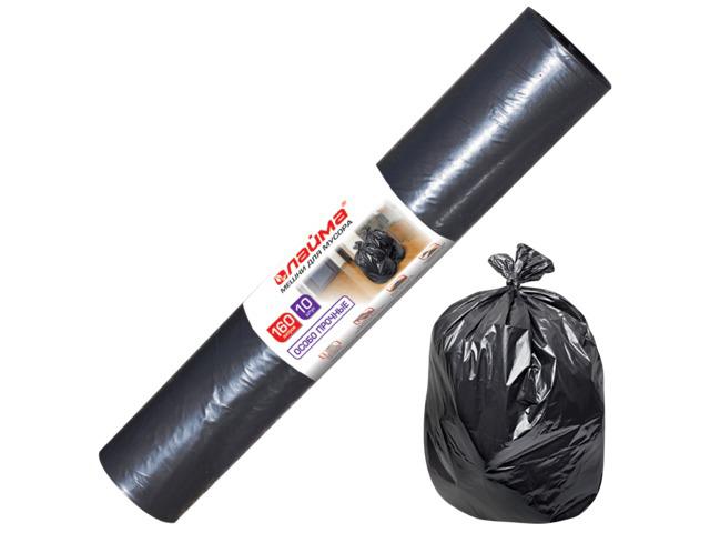 Мешки для мусора, 160 л, комплект 10 шт., рулон, ПВД, особо прочные, 90х110 см (±5%), 100 мкм, черные, ЛАЙМА, 601798