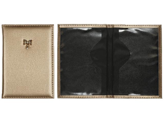"""Обложка для паспорта deVENTE """"Bright"""" искусственная кожа, фактурная, с брошкой, золотая"""