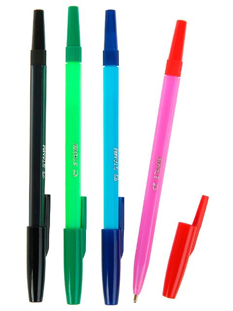 Набор ручек шариковых СТАММ 4 цвета флюоресцентные