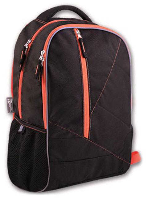 Рюкзак подростковый Феникс+ 46х31х17 см, черный + оранжевый