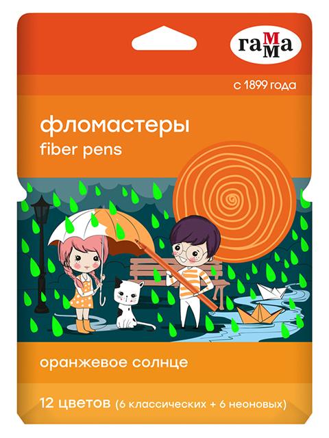 """Фломастеры Гамма """"Оранжевое солнце"""", (6 обычных + 6 неоновых цветов), 12 цветов, смываемые, в картонной упаковке с подвесом"""