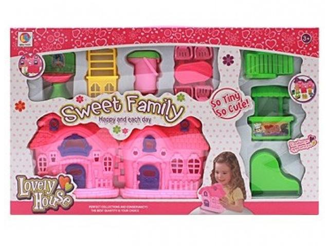"""Дом для кукол """"Мой дом-1"""" 8 предметов, складной, в коробке"""