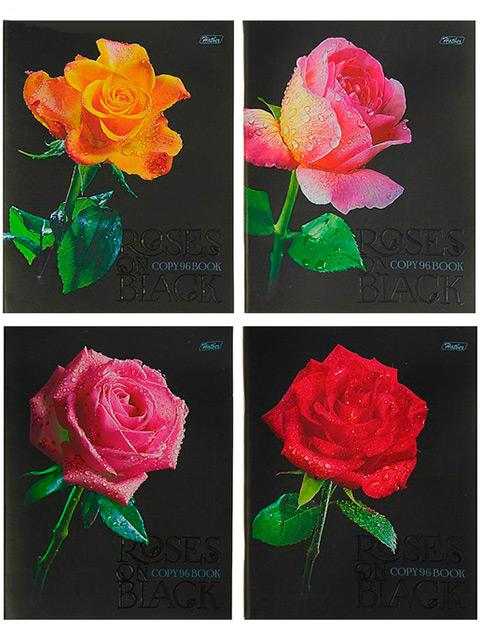 "Тетрадь А5 96 листов клетка Хатбер ""Roses on black"" на скрепке"