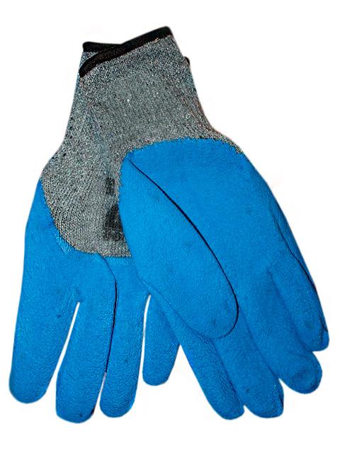 Перчатки рабочие х/б 10кл, облитые толстым слоем вспененного латекса (синие)