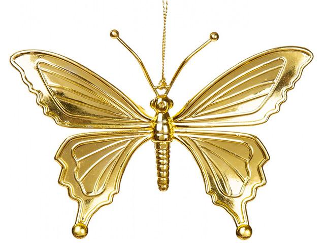 """Новогоднее украшение """"Бабочка золотая"""" 15,5х10,5 см, пластик"""