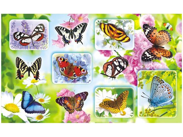 "Наклейки ""Бабочки"" 11 штук на листе 10х16 см, с блестками"