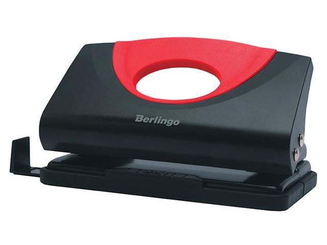 """Дырокол Berlingo """"Office Soft"""" 10 листов, пластиковый, с линейкой, красный"""