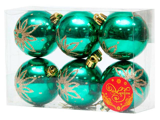 Набор елочных шаров MagicTime, 6 см, 6 шт, зеленые с золотыми лепестками, пластик