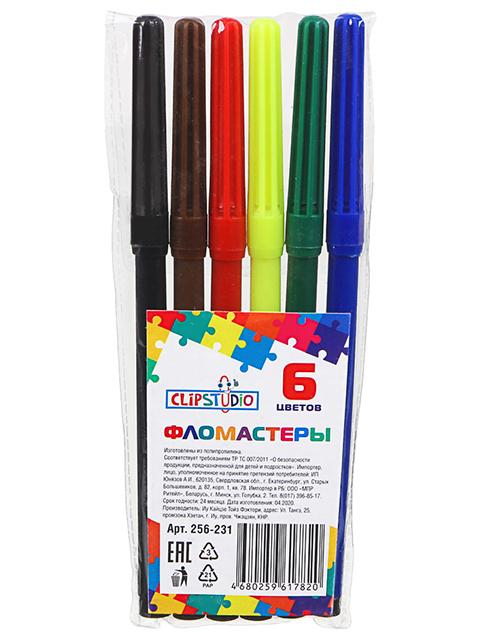 Фломастеры ClipStudio 6 цветов, с цветным колпачком, в ПВХ пенале