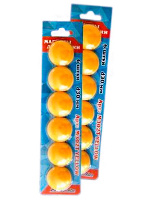 """Набор магнитов для доски """"Josef Otten"""" 6шт. 30мм. желтый в блистере"""