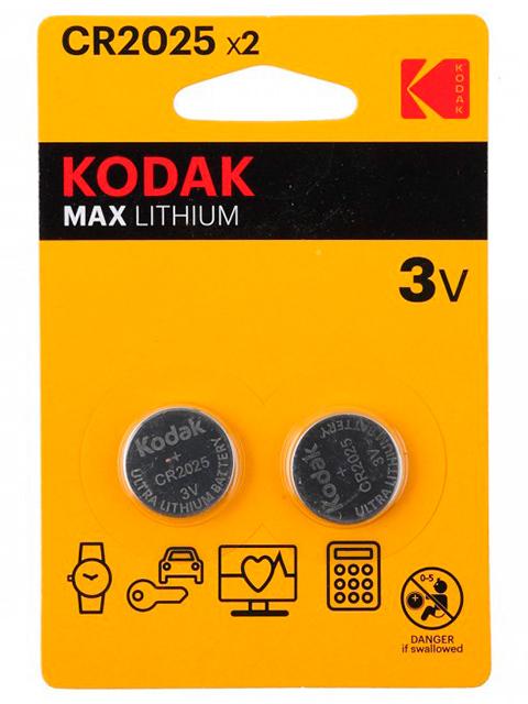 Батарейка литиевая (таблетка) Kodak CR2025-2BL (2 шт) блистер