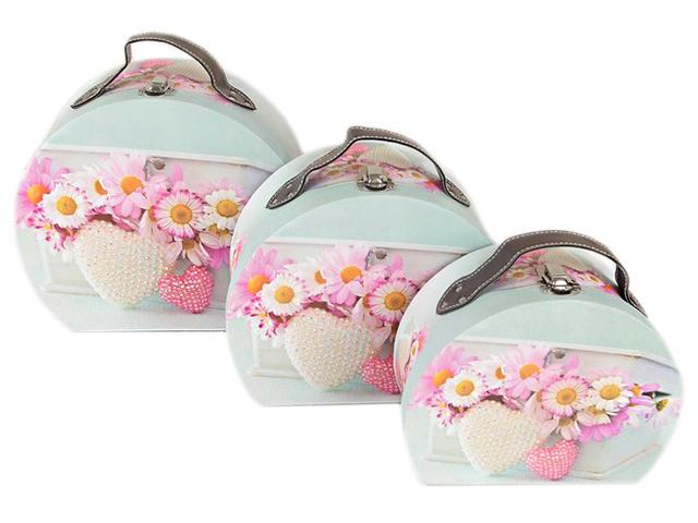 """Коробка-чемодан """"Ромашки"""" округлая 21х16,5 см"""