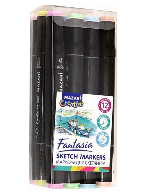 """Набор маркеров для скетчинга Mazari """"FANTASIA"""", 1-7 мм, двусторонние, 12 цветов (пастельные цвета)"""