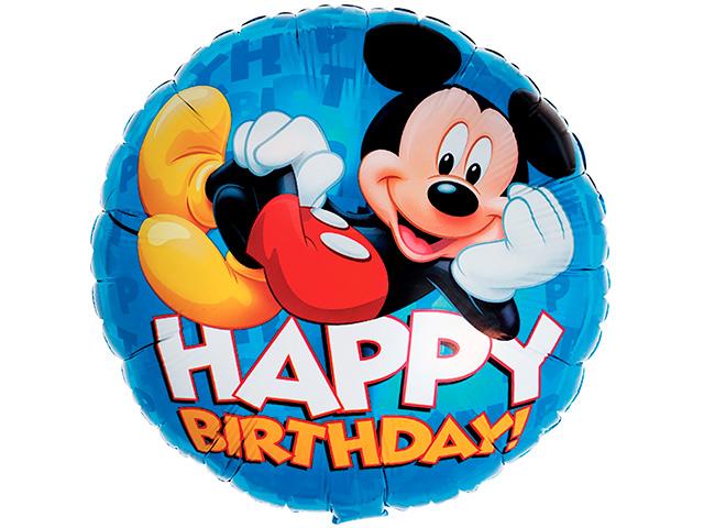 "Шар фольгированный ""Happy birthday!"" круг (Микки Маус), синий, без упаковки"