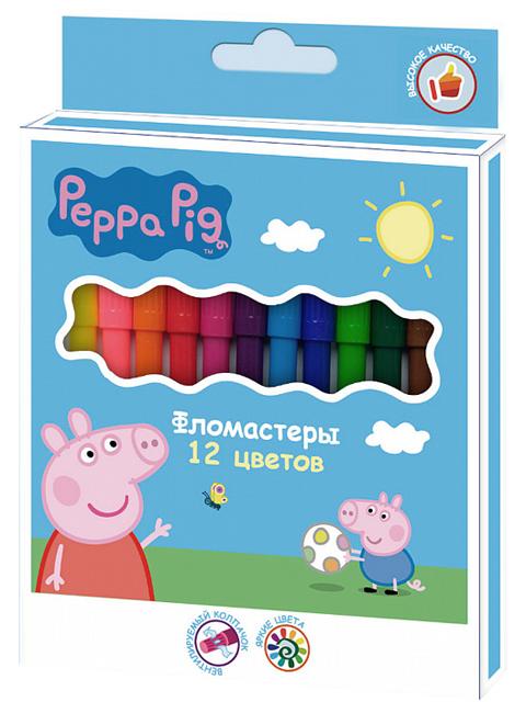 """Фломастеры Росмэн """"Peppa Pig"""" 12 цветов, в карт. упак."""