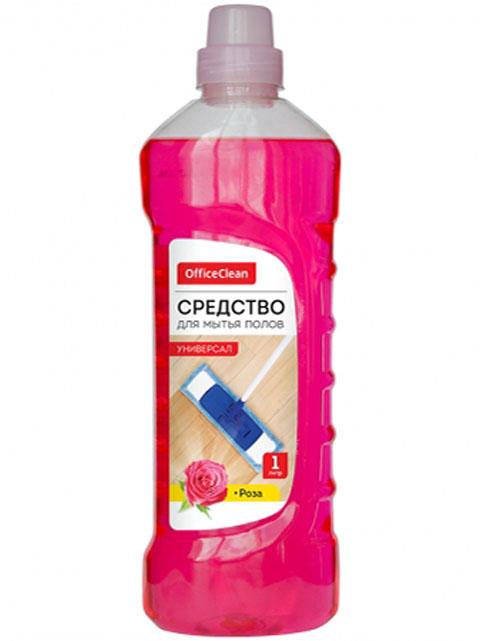 """Средство для мытья полов Office Clean """"Универсал"""" Роза"""", 1 л."""