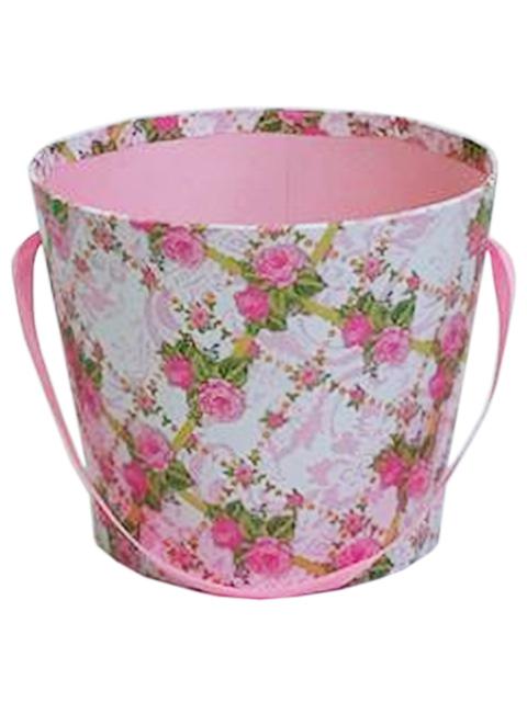 """Коробка под цветы """"Клумба"""" 16х16х13 см, круглая, светло-розовая"""