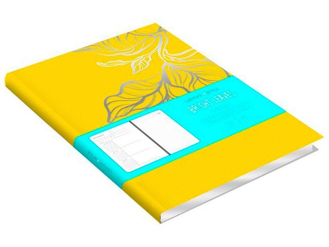 """Ежедневник недатированный А5 136 листов Listoff """"Bright leaves"""" обл. иск. кожа с тиснением, ляссе, желтый"""