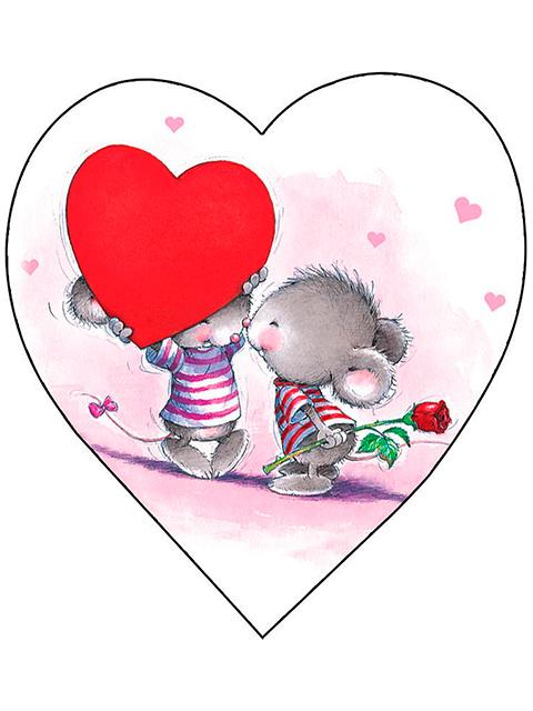 """Открытка-валентинка """"Люблю тебя!"""", фигурная вырубка"""