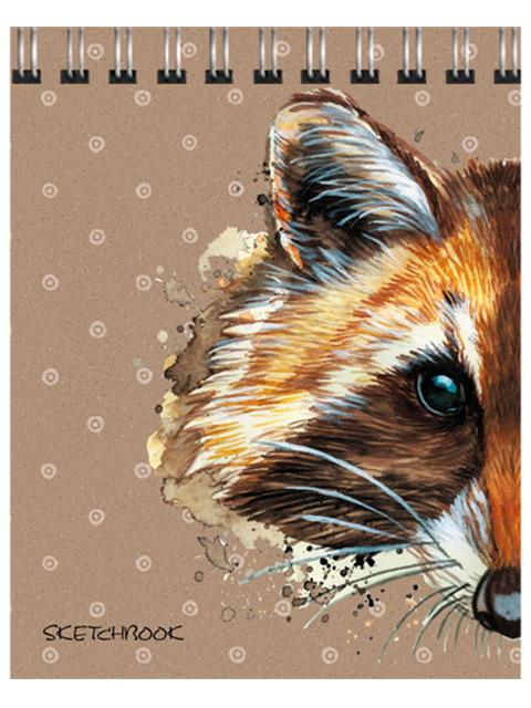 "Скетчбук А6+ (125х160) 80 листов Paper Art ""Хитрый енот"" обл. 7БЦ матовая ламинация, на евроспирали"
