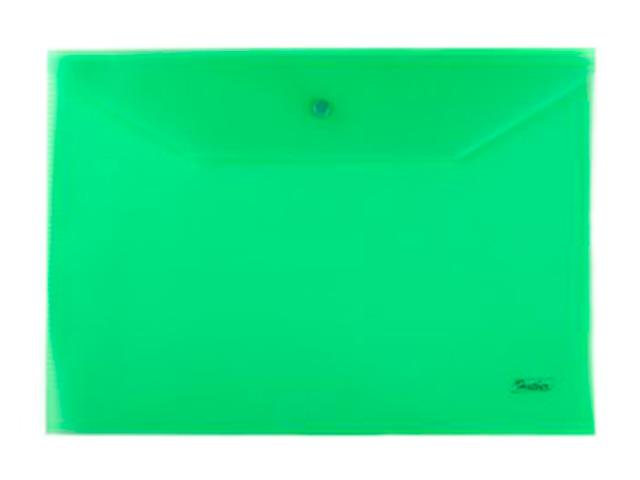 Папка-конверт на кнопке А4 Хатбер 180 мкм, зеленая