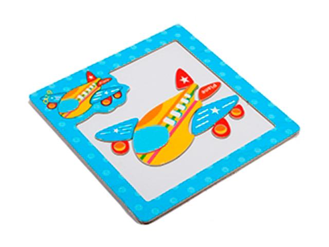 """Пазл- рамка деревянная для малышей, магнитная """"Самолетик"""", 8 элементов. 15х15 см"""