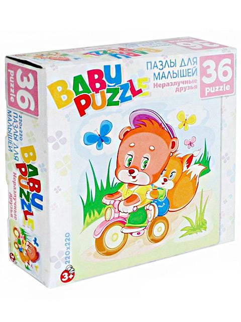 """Пазлы 36 элементов Оригами """"Baby Puzzle: Мишка и бельчонок"""" 220х220мм"""